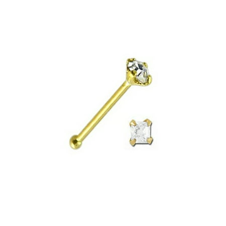 iJewelry2 14k Yellow Gold Nose Lip Bone with a Clear Princess Cut Cubic Zirconia 1 pc