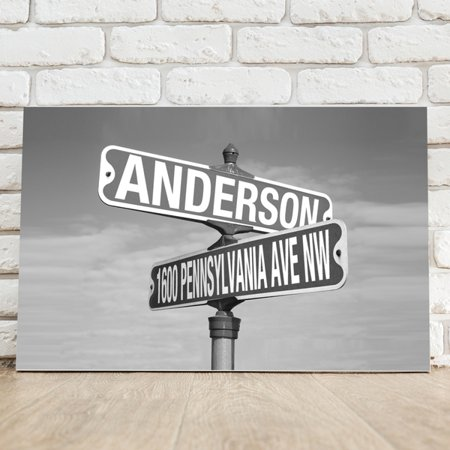 Personalized Black And White (Personalized Black and White Intersection Street Sign Canvas )