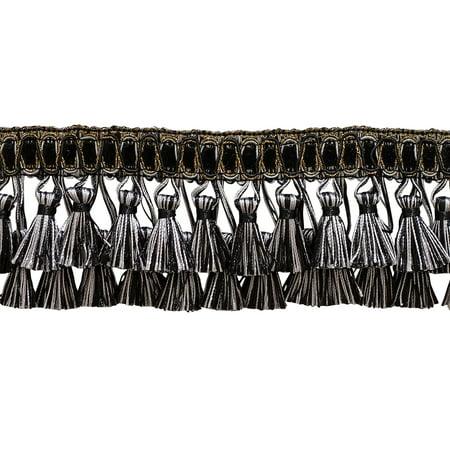 "Elaborate 3"" Two Tier Tassel Fringe - Black, Silver Grey (Sold by The Yard)"