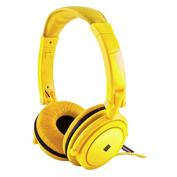 Polaroid Neon Headphones With Carring Case, Built-in Mic, Compatible With All Devices,Yellow