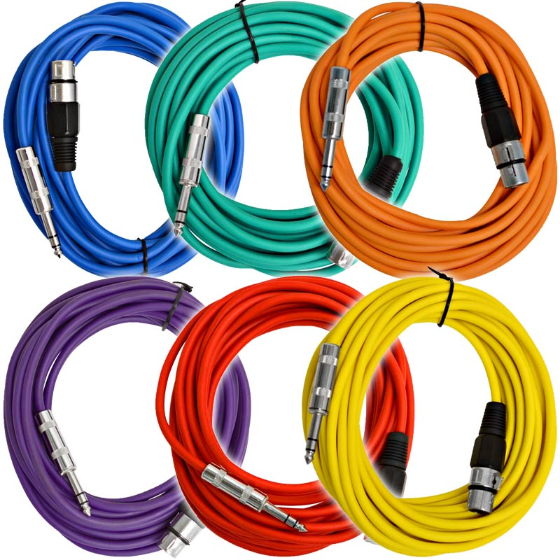 SEISMIC AUDIO 6 PACK Orange 6/' XLR Patch Cables Snake