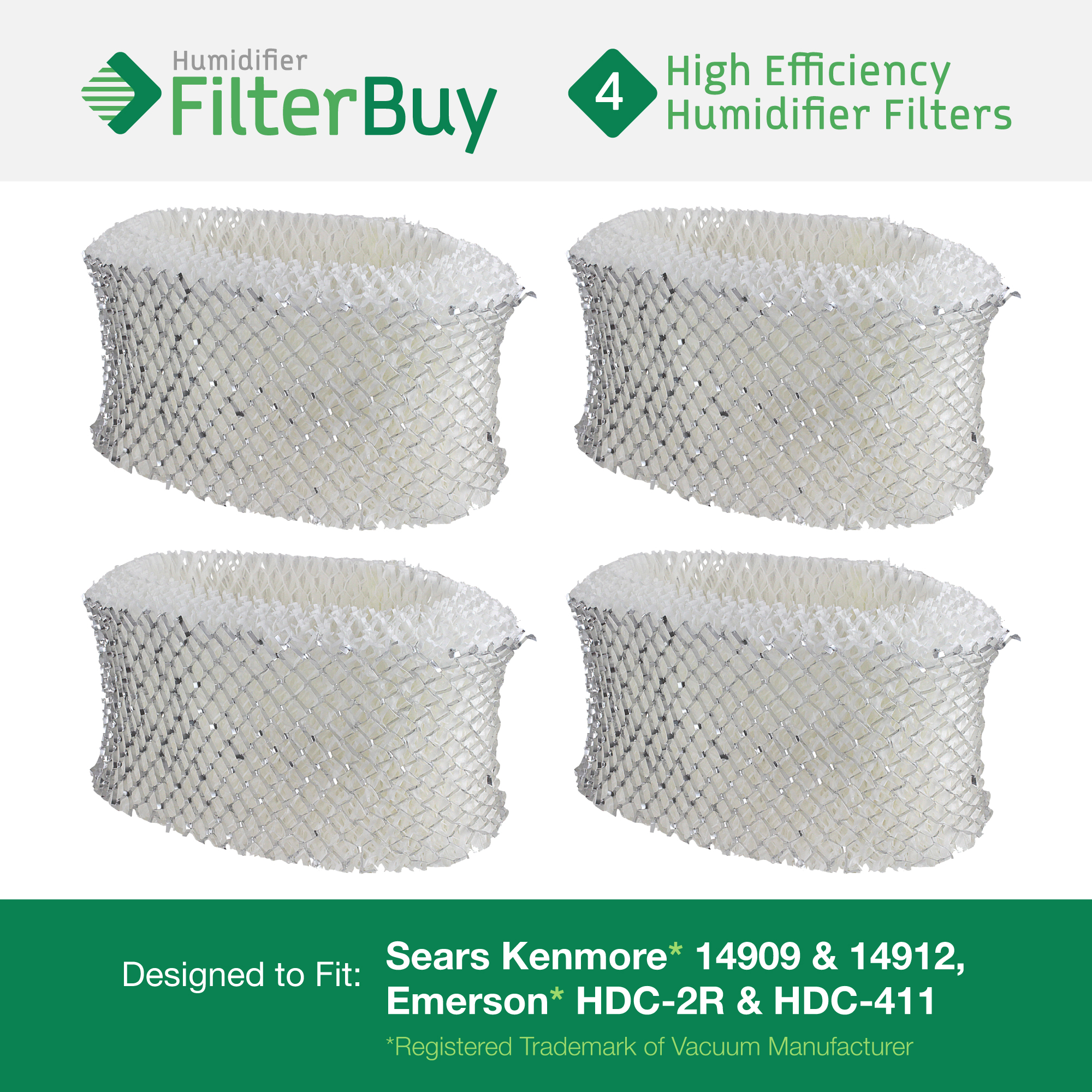 4 - Holmes & Sunbeam Part # HWF62, Hamilton Beach Part # 05910 Humidifier Replacement Filters. Designed by FilterBuy in the USA.