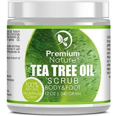 Antifungal Tea Tree Body & Foot Scrub - 12 oz 100% Natural Antibacterial Exfoliator - Best Fungal Treatment Prevents Acne Dandruff Calluses Athlete's Foot Jock Itch - Premium Nature - Natural Mineral Foot Scrub