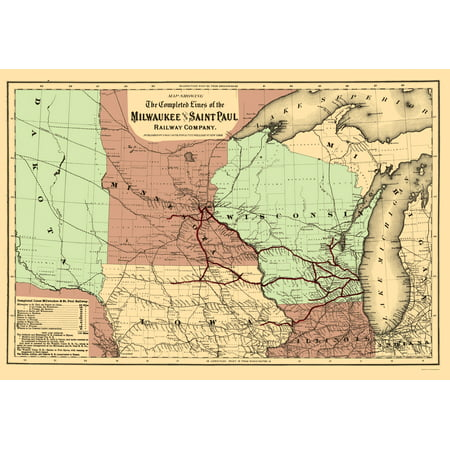 feb793ab56d08 Old Railroad Map - Milwaukee and Saint Paul Railway - Colton 1872 - 23 x  33.23