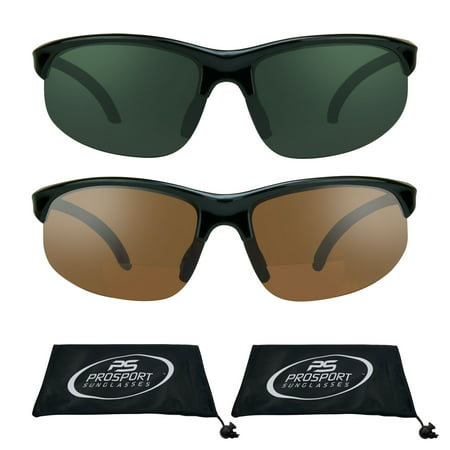 - proSPORT 2 Pairs of Bifocal Sunglasses with Semi Rimless frame +1.50, +2.00, +2.50, +3.00 Sunglass Readers