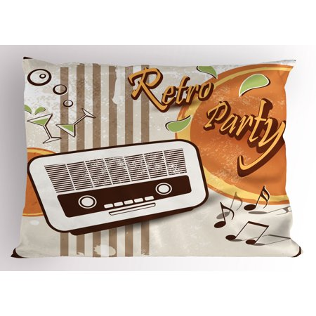 70s Party Pillow Sham Retro Party Themed Artwork Old Radio Cocktails Floral Details Print, Decorative Standard Queen Size Printed Pillowcase, 30 X 20 Inches, Orange Dark Brown Beige, by Ambesonne