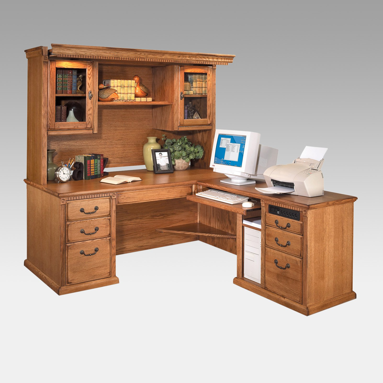 Kathy Ireland Home By Martin Huntington Oxford L Shaped Desk And Hutch Oak