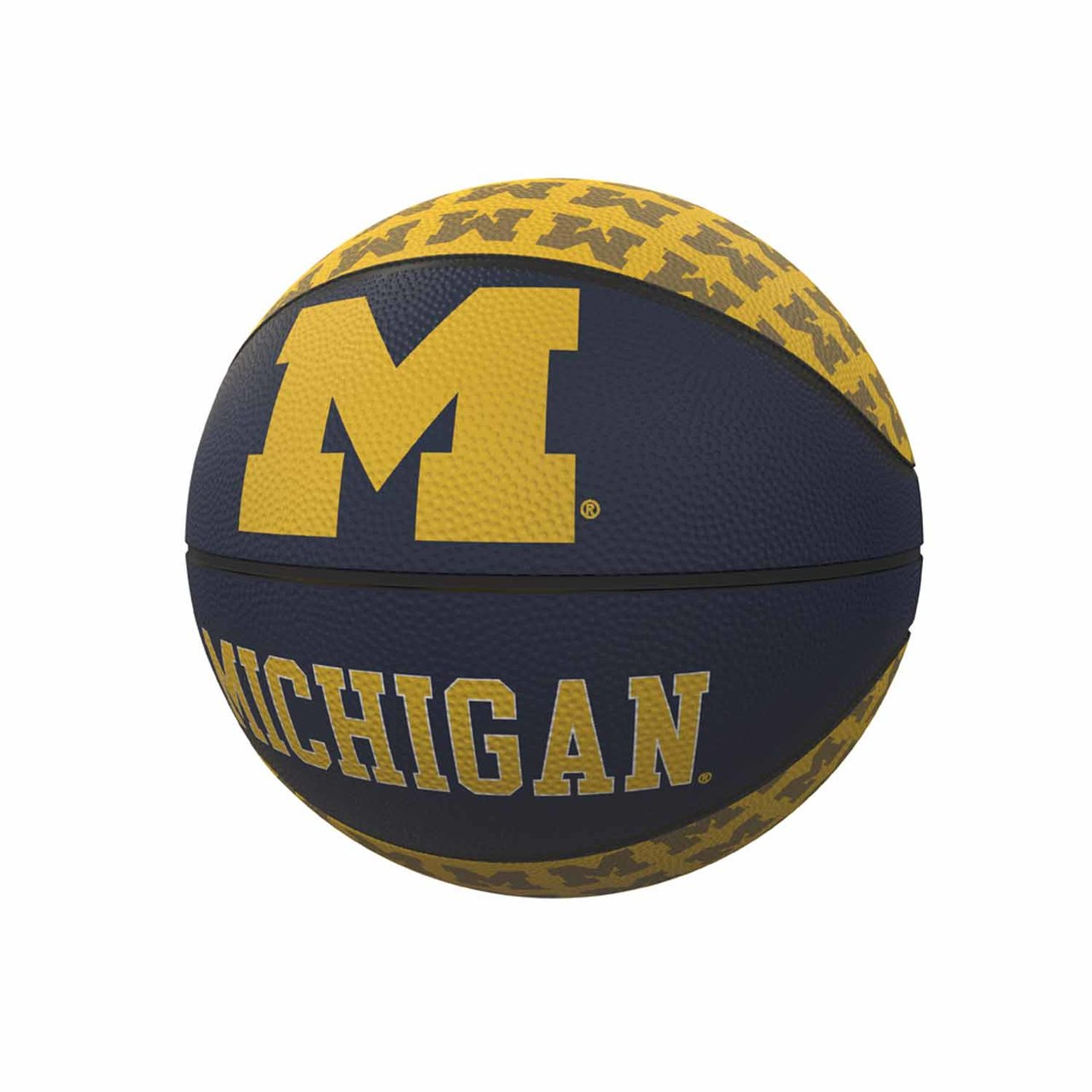 Michigan Wolverines Repeating Logo Mini-Size Rubber Basketball