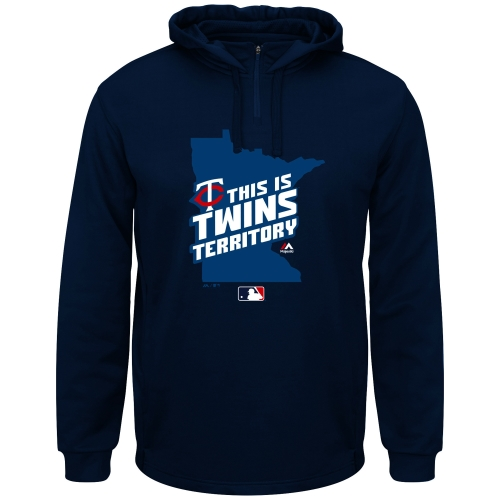 Men's Majestic Navy Blue Minnesota Twins Authentic Collection On-Field Team Driven Therma Base Hoodie by MAJESTIC LSG