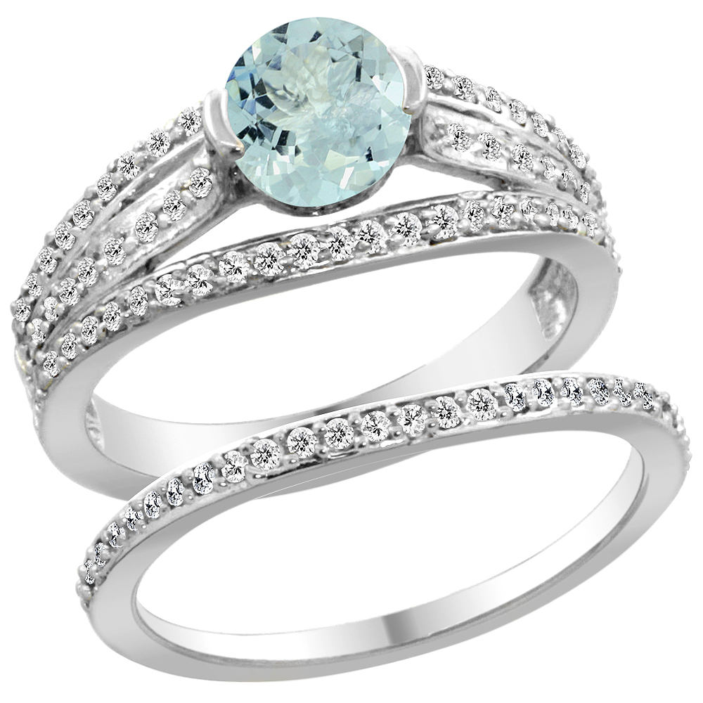 14K White Gold Natural Aquamarine 2-piece Engagement Ring Set Round 6mm, size 5 by Gabriella Gold