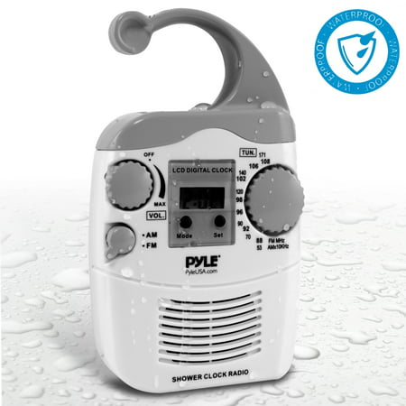PYLE PSR6 - Hanging Waterproof AM/FM Shower Clock