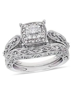 1/5 Carat T.W. Diamond Sterling Silver Halo Infinity Bridal Set