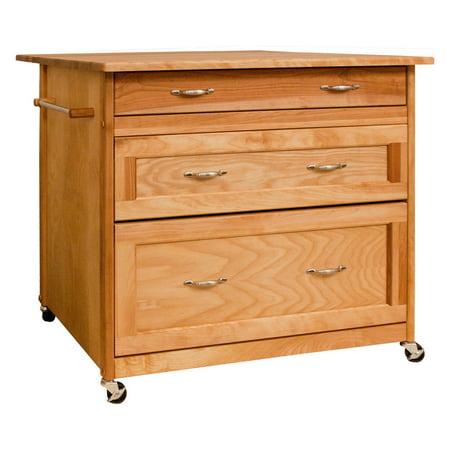 Catskill Craftsman Three Drawer Work Center Portable Kitchen Cart