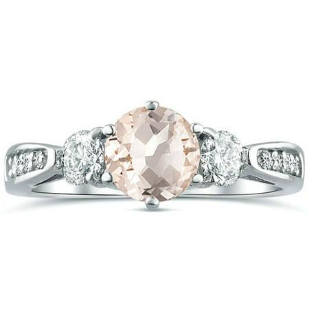 1.36 tcw Round Natural Morganite & Diamond 3 Stone Engagement Ring 14 White Gold