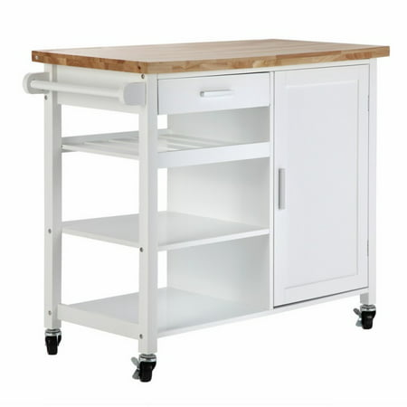 Homegear Utility Kitchen Storage Cart Island with Rubberwood ...