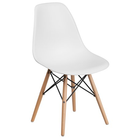 Flash Furniture Elon Series White Plastic Chair with Wood Base - Maple Wood Finish Chair