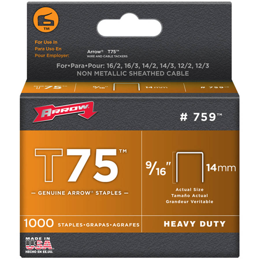 Arrow 9/16-Inch T75 Tacker Staples, 1000 Count