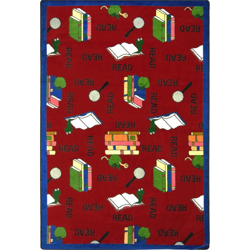 "Joy Carpets Kid Essentials - Language & Literacy Bookworm, 10'9"" x 13'2"", Red"