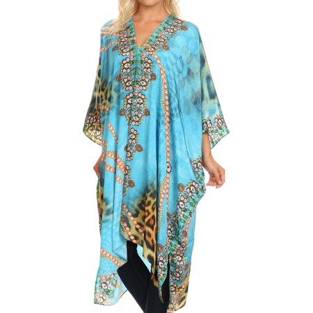 1f2728b914baa Sakkas Alvita Women's V Neck Beach Dress Top Caftan Cover up with  Rhinestones - JT86-Turq - One Size Regular