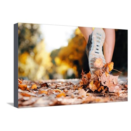 (Close up of Feet of a Runner Running in Autumn Leaves Training for Marathon and Fitness Healthy Lif Stretched Canvas Print Wall Art By warrengoldswain)