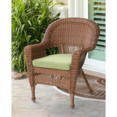 36 Honey Brown Resin Wicker Outdoor Patio Garden Chair Green Cushion