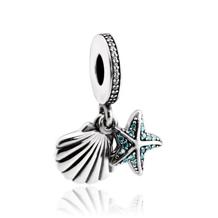 Tropical Starfish & Sea Shell Pendant Charm - 792076CZF