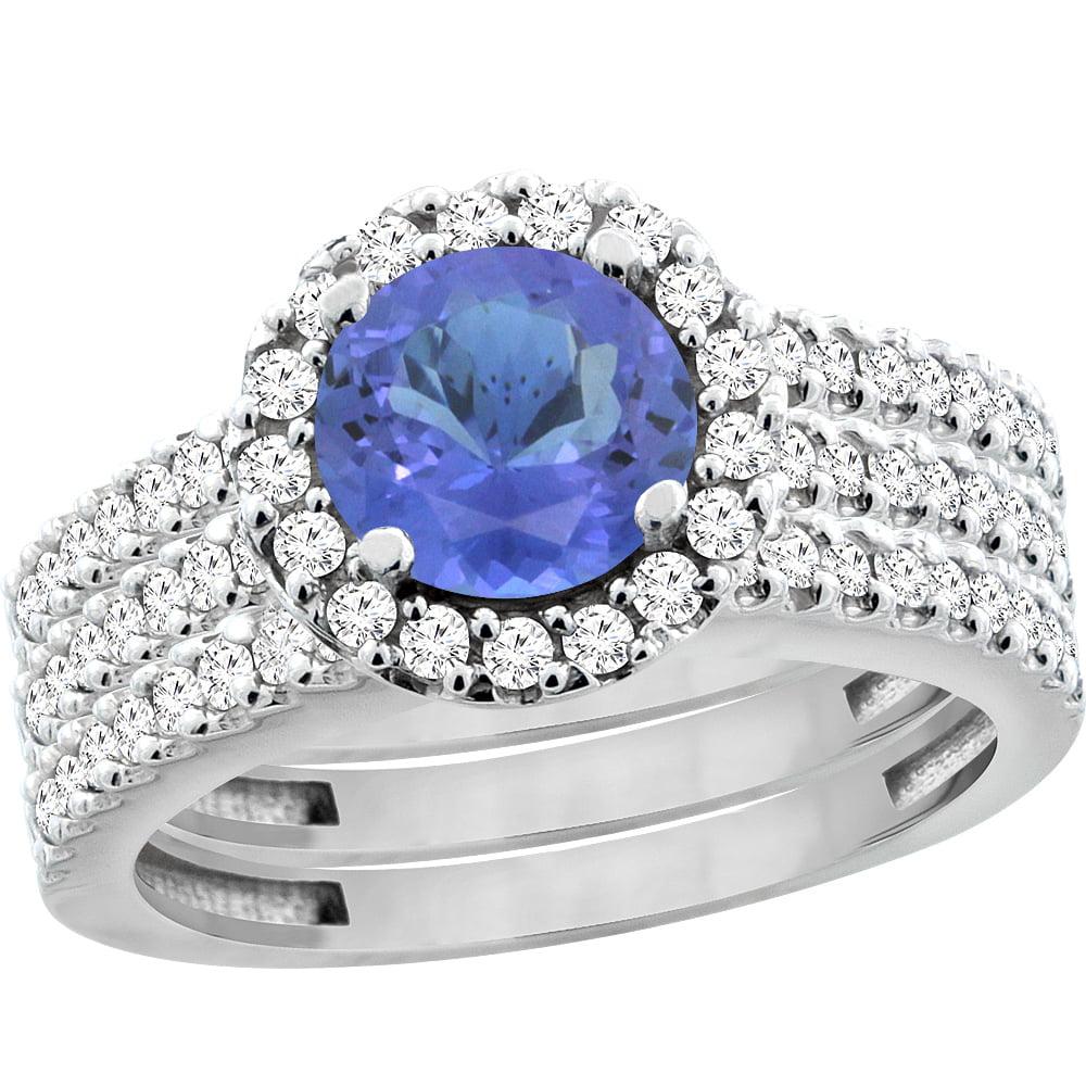 10K White Gold Natural Tanzanite 3-Piece Bridal Ring Set Round 6mm Halo Diamond, size 5 by Gabriella Gold
