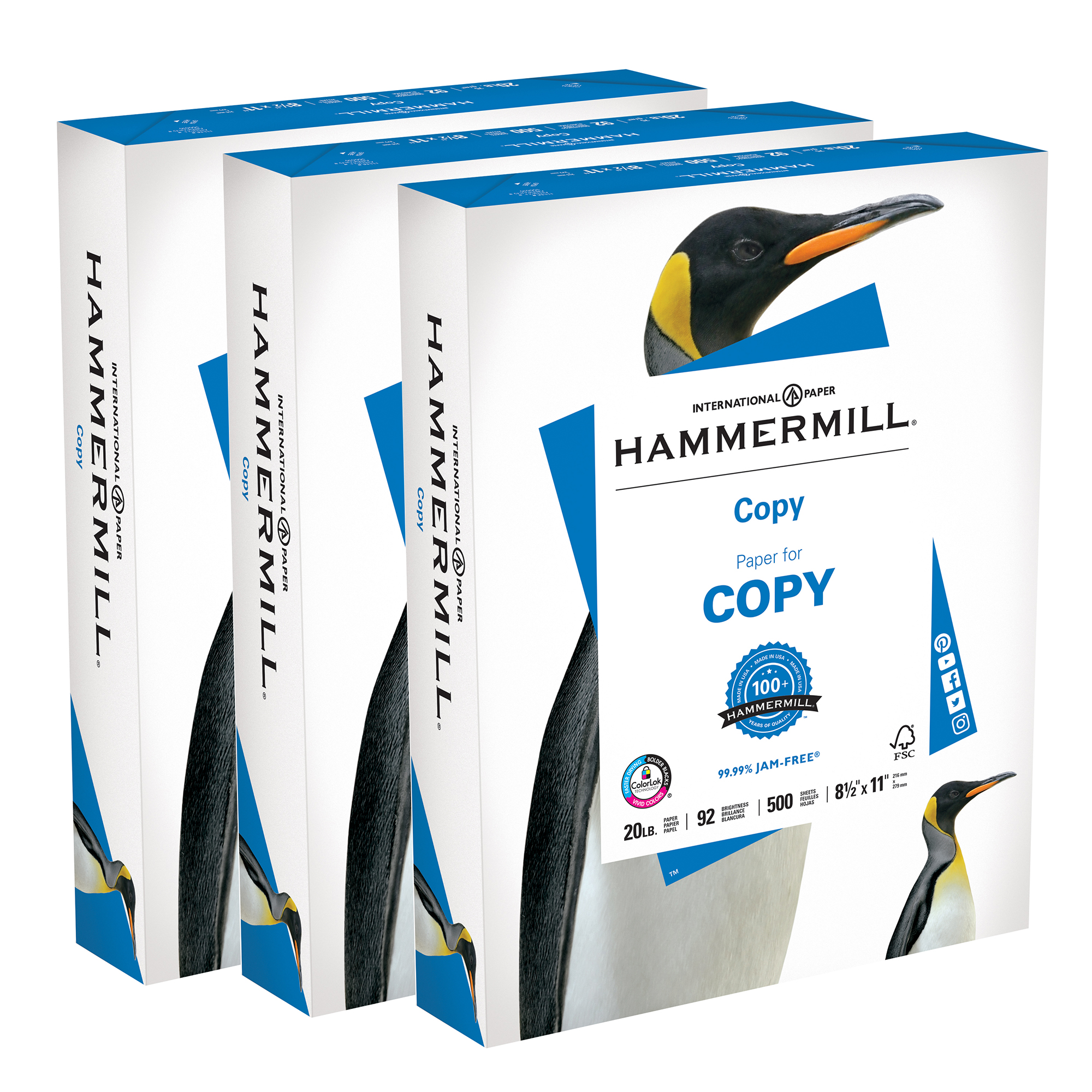 (3 Pack) Hammermill Copy Paper, 8.5x11In, 20 lb, 92 Bright, 1 Ream, 500 Sheets