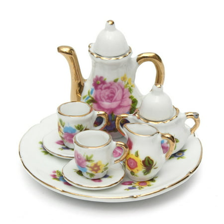 Meigar 8pcs Porcelain Tea Set Teapot Ceramic Retro Style Coffee Teacup Floral Cups Dollhouse Miniature Dining Ware Porcelain Dish Cup Plate Rose