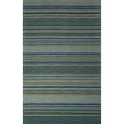 8' x 10' Dark Mint Green, Cobalt Blue and Flaxen Yellow Modern Jetty Hand Tufted Wool Area Throw Rug