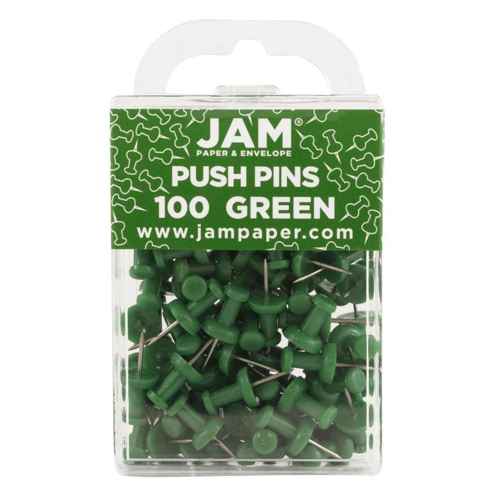 JAM Paper Plastic Push Pins - Green Pushpins - 100/Pack