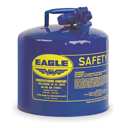 EAGLE UI50SB 5 gal. Blue Galvanized Steel Type I Safety Can, For (Eagle Type)