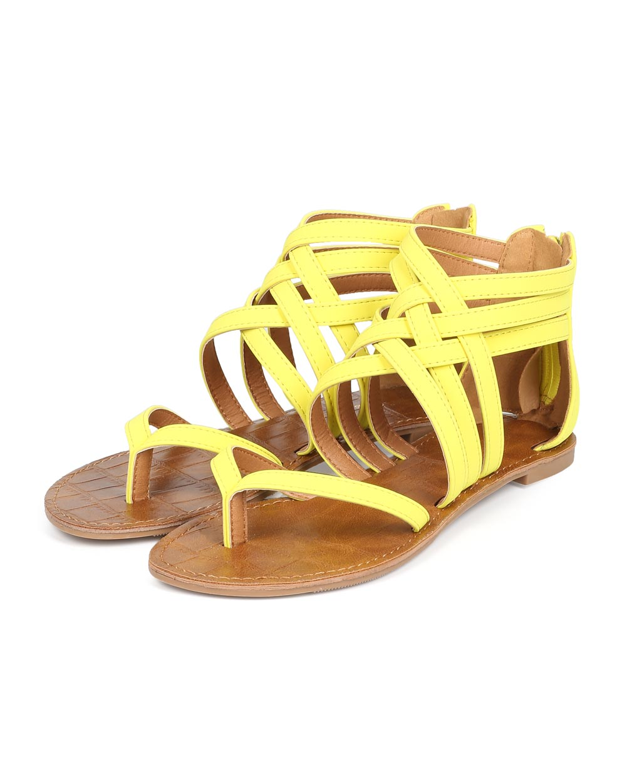 eba8325399ce5 Women Nubuck Open Toe Strappy Gladiator Flat Sandal CF18