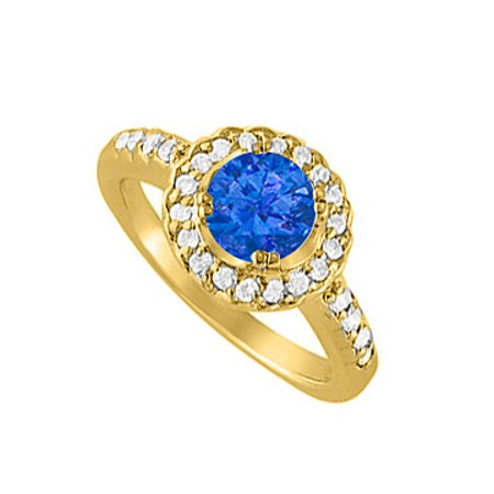 Halo Engagement Ring September Birthstone Sapphire with Cubic Zirconia 18K Yellow Gold Vermeil - image 2 of 2