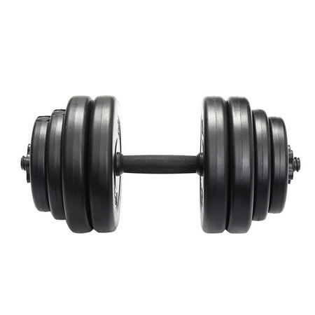 GHP Pair of Black Propene Polymer Plates Steel Tubular Rods Gym Workout Dumbbell