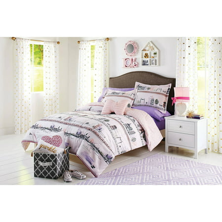 Better homes and gardens kids paris street bedding comforter set for Better homes and gardens bed in a bag