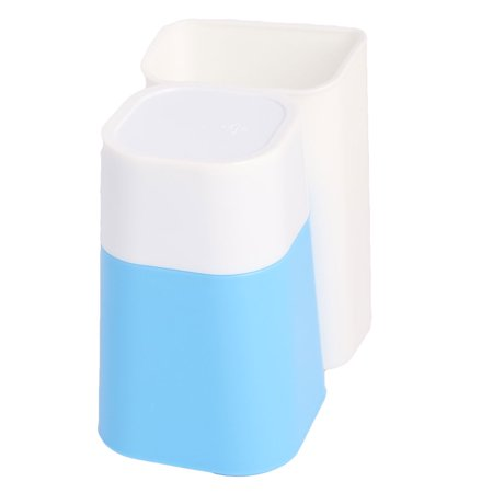 Bathroom Plastic Wall-mounted Design Toothbrush Holder Cup Blue White 2 in 1 - image 1 of 5