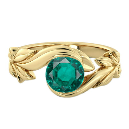 - 1 CT Lab Created Green Emerald Stone Ring 14K Yellow Gold Flower Leaves Leaf