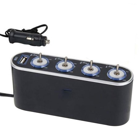 12V 4 Way Multi Socket Car Charger Vehicle Auto Cigarette Lighter Socket Splitter with USB Ports Plug Adapter Cigarette Lighter Socket Adaptor