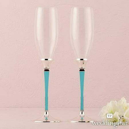 Weddingstar 9462-29 Blue Plated Stem With Glass Wedding Champagne Flutes