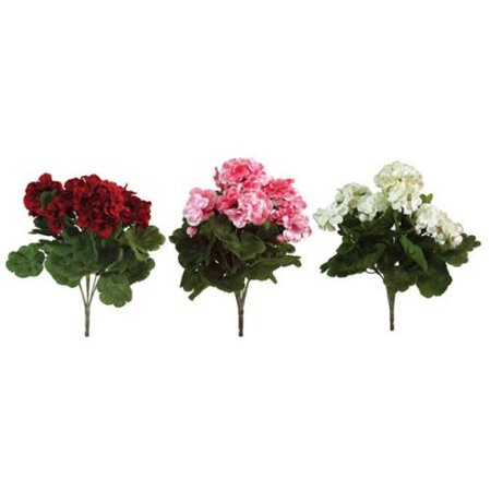 Pack Of 6 Red White And Pink Artificial Geranium Silk Flower Bush