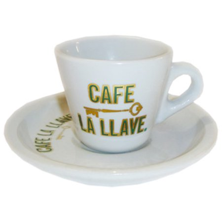 Ceramic demitasse cup with Cafe La Llave logo. Commercial quality