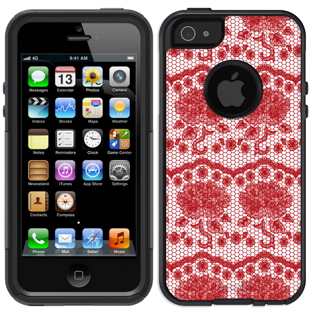 SKIN DECAL FOR OtterBox Commuter Apple iPhone SE Case - Darling Rose Lace in Hot Red DECAL, NOT A CASE