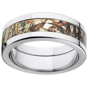 mossy oak duckblind mens camo 8mm stainless steel wedding band with polished edges and deluxe comfort - Mossy Oak Wedding Rings