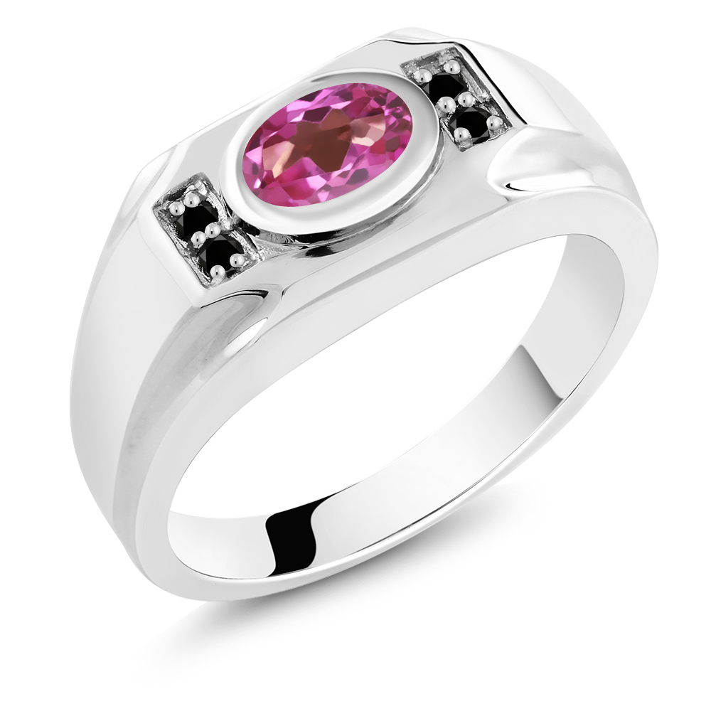 1.63 Ct Oval Pink Mystic Topaz Black Diamond 925 Sterling Silver Men's Ring by
