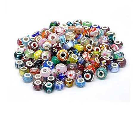 10 of Mix Murano Glass Beads for snake Chain charm Bracelet