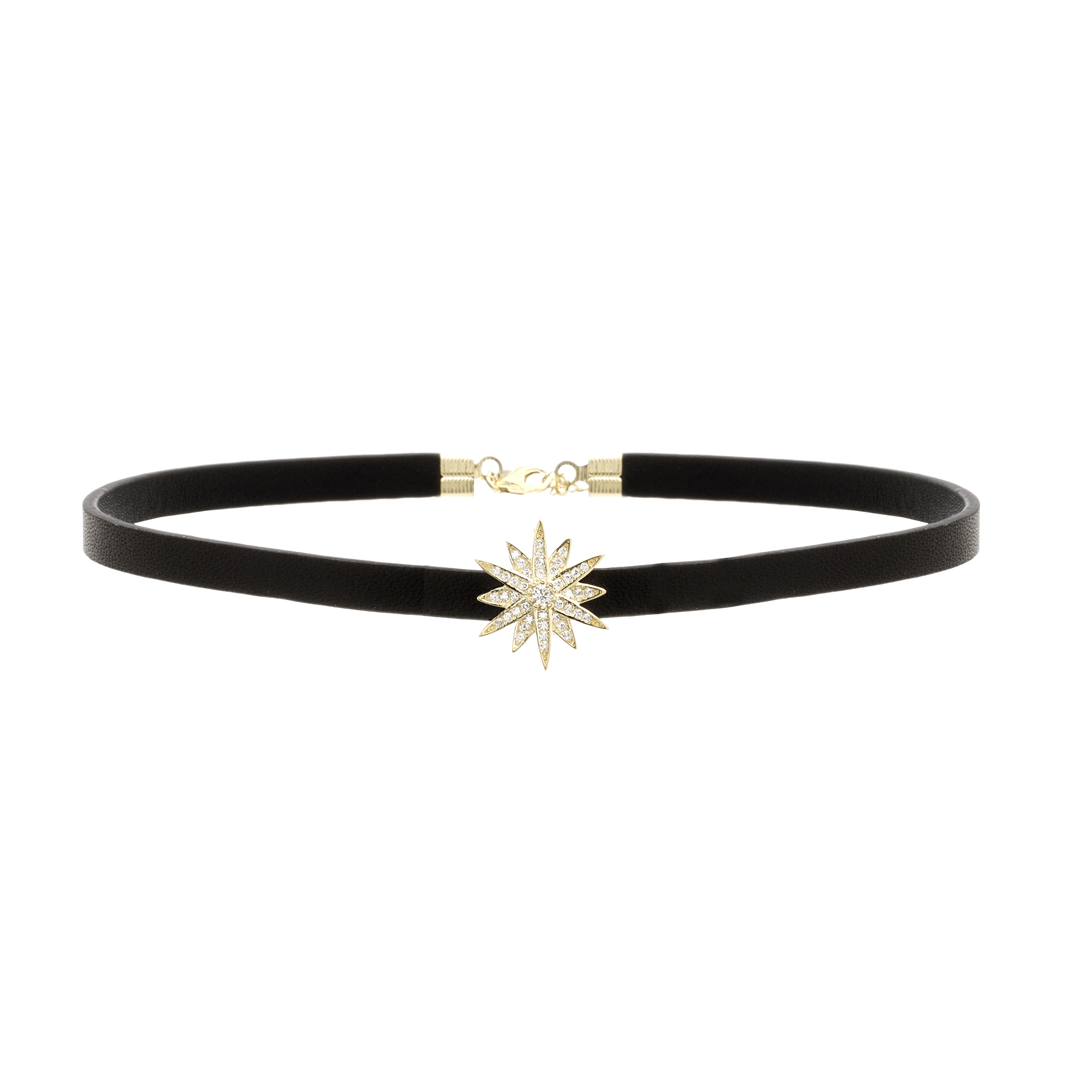 Cubic Zironia Starburst Choker Necklace in Yellow Gold over Sterling Silver and Leather