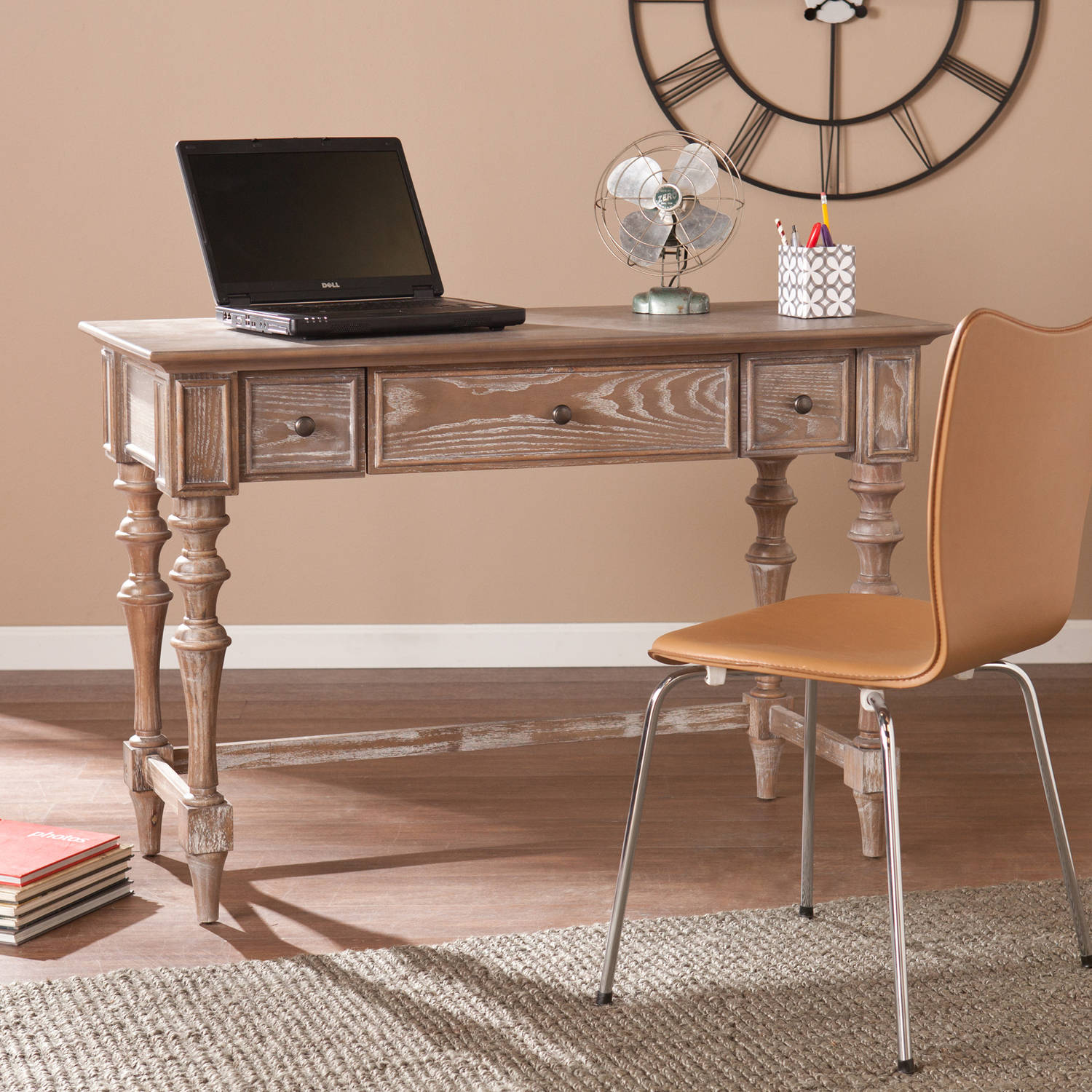 Southern Enterprises Levi Writing Desk, Burnt Oak
