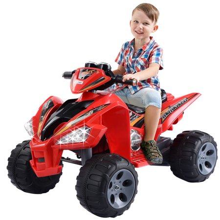 Costway Kids Ride On ATV Quad 4 Wheeler Electric Toy Car 12V Battery Power Led Lights