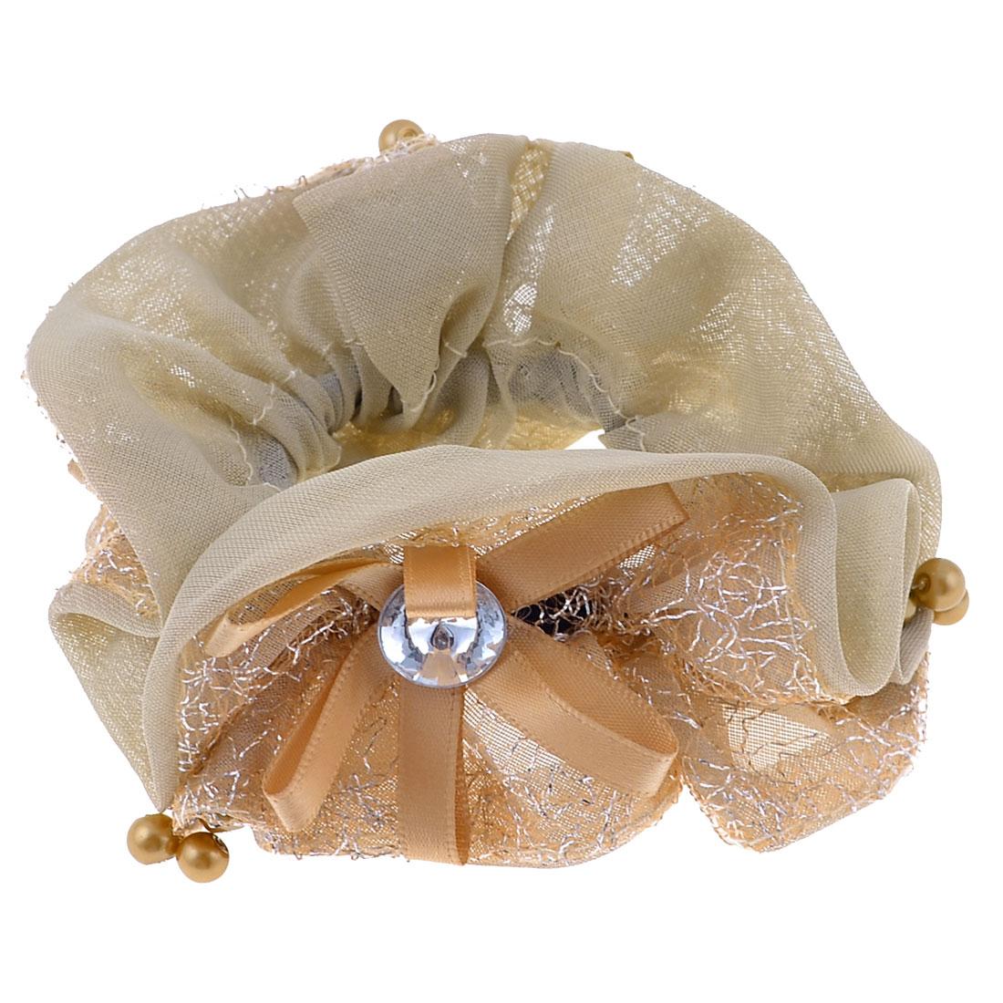 Plastic Beads Stretchy Ponytail Holder Hair Tie Band Khaki for Lady Girl